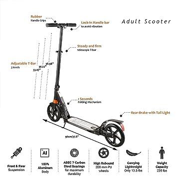 【EU STOCK】Scooter Patinetes Portable para Adultos Plegable por 1 segundo para Transportar Fácilmente