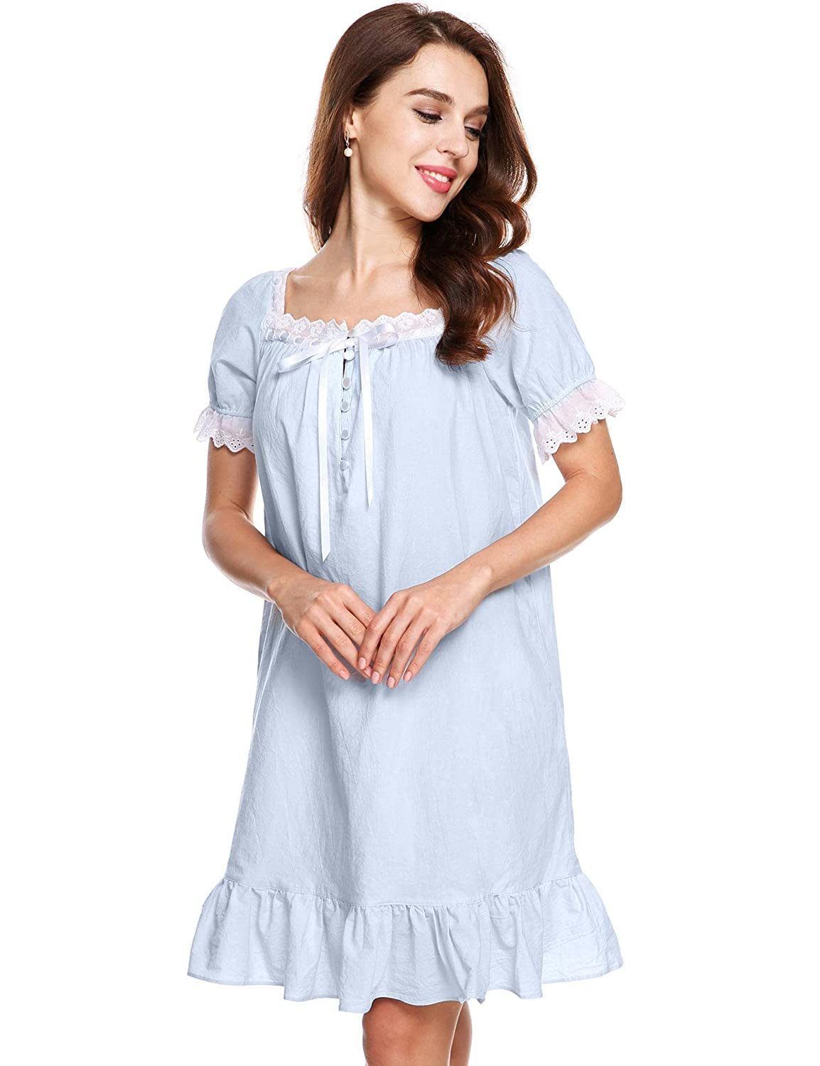 Goldenfox Womens Short Sleeve Sleepshirts Martha Victorian Nightgowns S-XL
