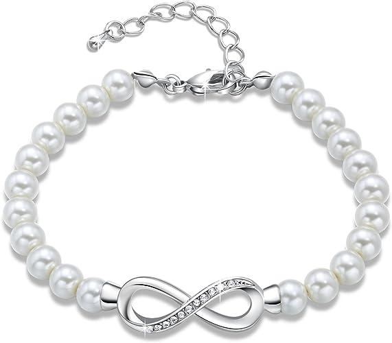 Pulseras Perlas Blancas para Mujer Pulsera Perlas Infinita Ajustable con Cristales de Swarovski