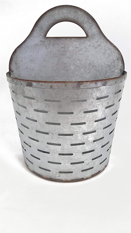 Large Galvanized Metal Olive Wall Half Bucket