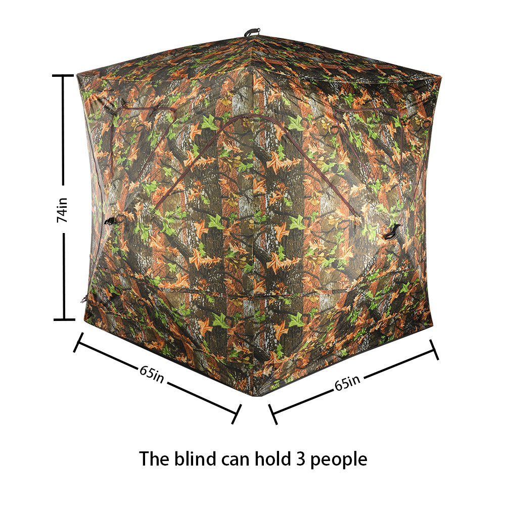 VULTURE Pop-up Portable 3-Person Ground Hunting Blind, 65'' X 65'' X 74'',Camo Pattern, Oxford Fabric Hunting Blinds by Vulture (Image #2)