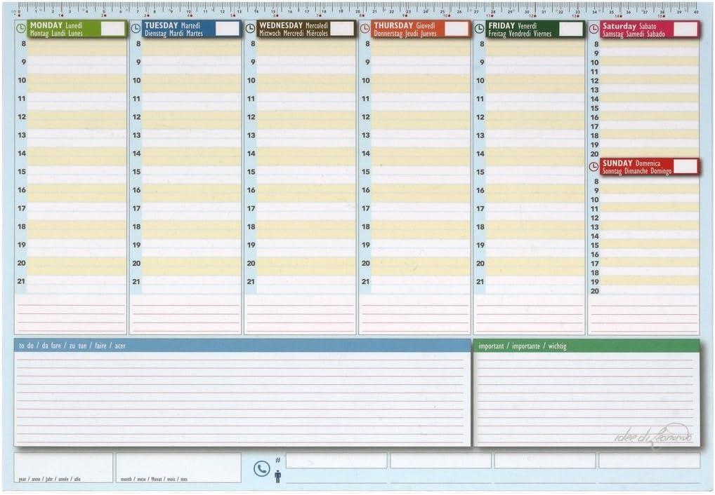 Planificador semanal de escritorio 42 x 30 – Agenda Agenda de mesa ...