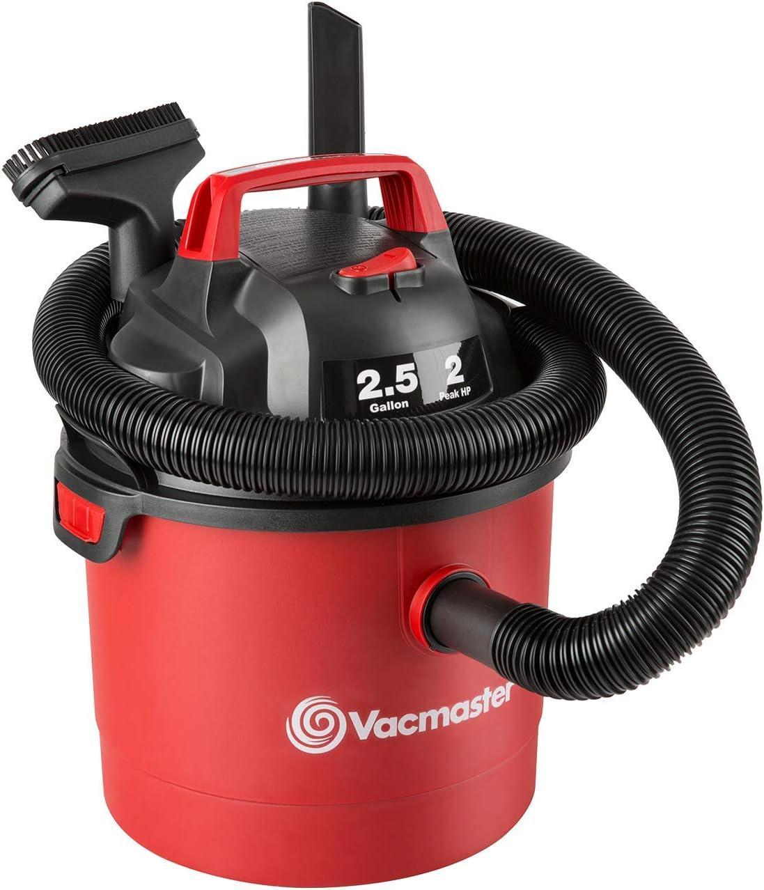 Vacmaster Red Edition VOM205P 1101 Portable Wet Dry Shop Vacuum 2.5 Gallon 2 Peak HP 1-1/4 inch Hose