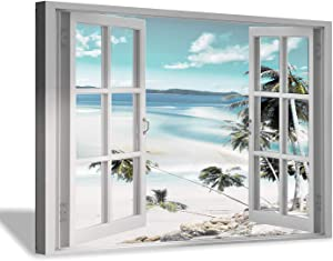 """Canvas Windows Picture Wall Art: Beach with Light Blue Coastal Palm Graphic Artwork Print on Canvas Artwork for Living Room (45"""" x 30"""" x 1 Panel)"""