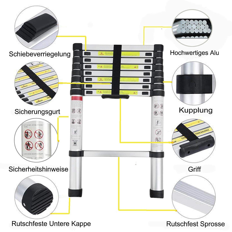 3,2 m Teleskopleiter Mehrzweck Aluleiter Ausziehbar Stehleiter Teleskop Klappleiter 2,6 m 3,8 m A-Rahmen 3.8m 5 m Aluminium Verl/ängerungsleiter A-Rahmen//Gerade Leiter EN131 bis 150KG