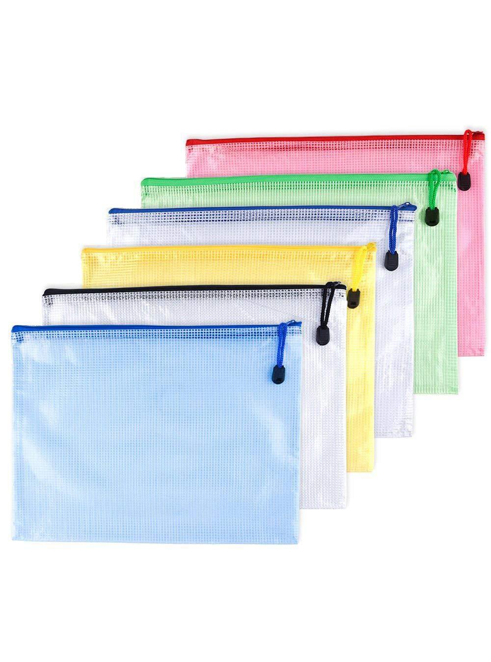 verde azul color blanco 6pcs camisa paquete cartera Pochette en PVC Zip documento carpeta//PVC School Office Magazine Document File Zippy Closure Folder Holder bag-noir Juane rojo A4