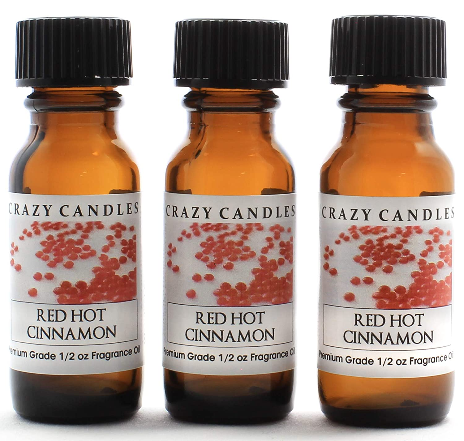 Crazy Candles Red Hot Cinnamon (Made in USA) 3 Bottles 1/2 FL Oz Each (15ml) Premium Grade Scented Fragrance Oil