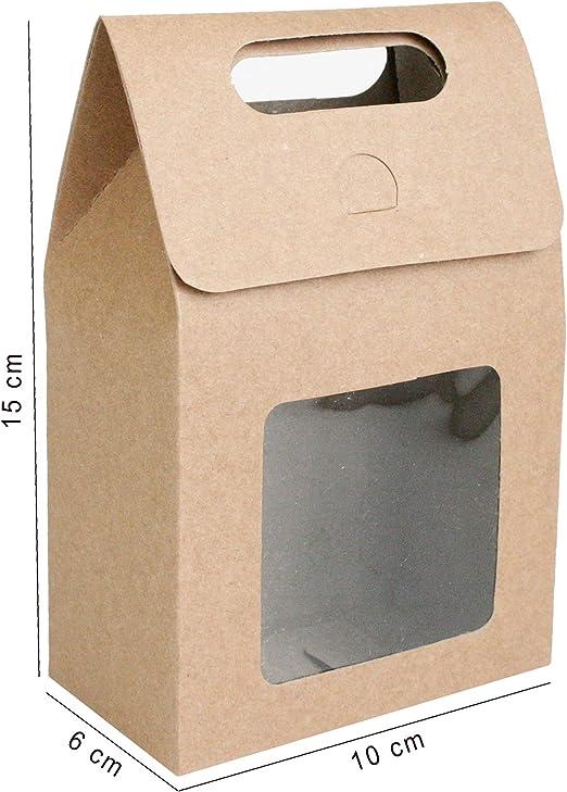 Emartbuy Bolsa de Regalo Papel Fuerte Levántate, 15 cm x 10 cm x 6 cm, Bolso Kraft Marrón Caja de Galletas Dulces Con Ventana Transparente - Paquete de 24: Amazon.es: Oficina y papelería