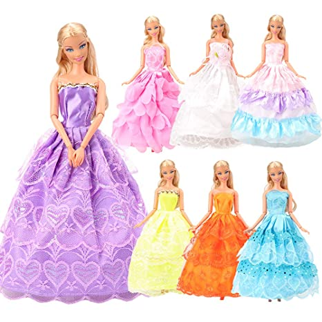 Miunana 7 PCS Grandi Abiti Vestiti Lussuosi Alla Moda Per Bambola Barbie  Dolls d45252e6df8