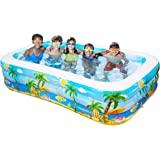 """iBaseToy Giant Inflatable Swimming Pool, Adult Inflatable Pool for Summer Party, Rectangular Family Swimming Pool for Kids, 103"""" x 59"""" x 22"""", for Ages 3+"""