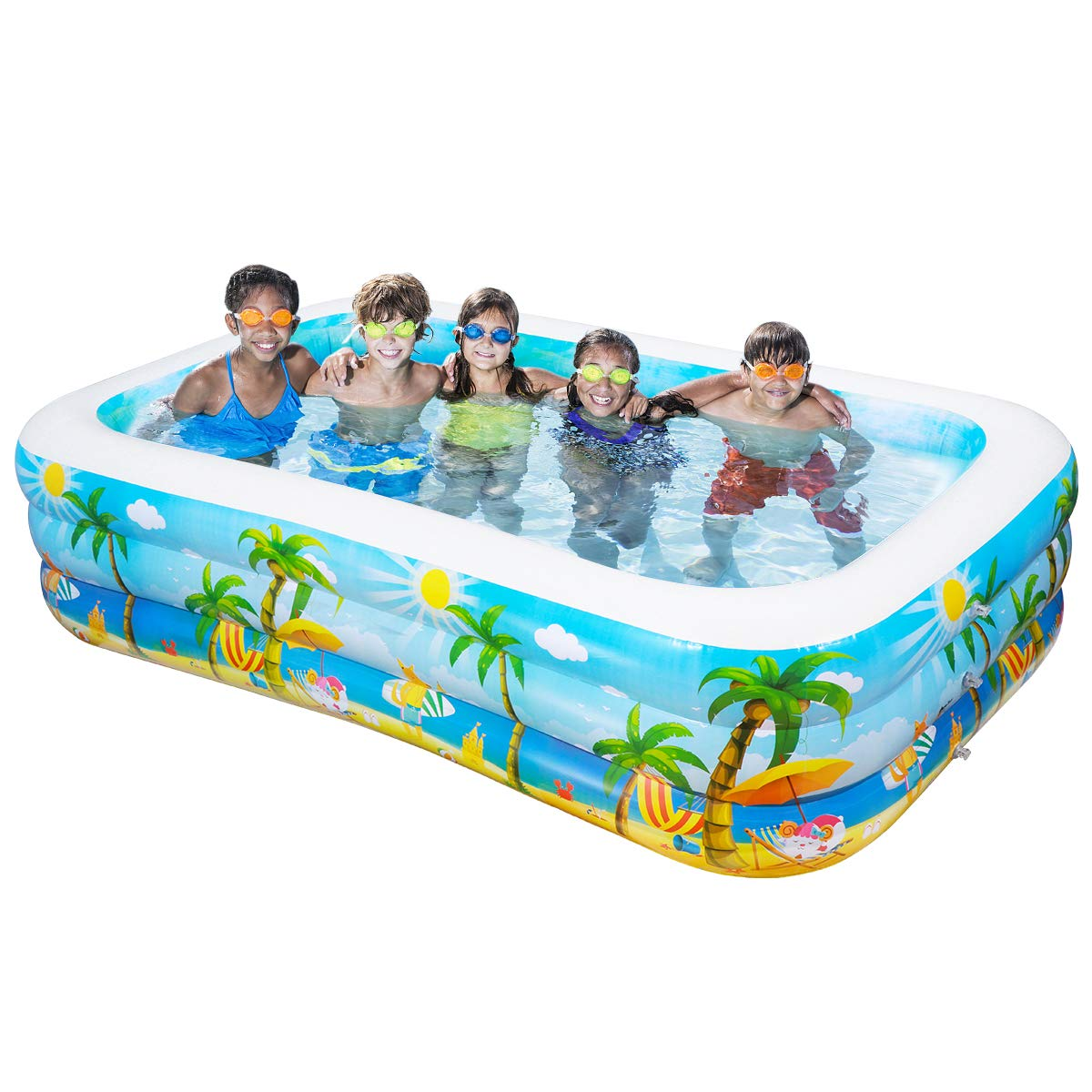 "iBaseToy Giant Inflatable Swimming Pool, Adult Inflatable Pool for Summer  Party, Rectangular Family Swimming Pool for Kids, 103"" x 59"" x 22"", for  Ages ..."