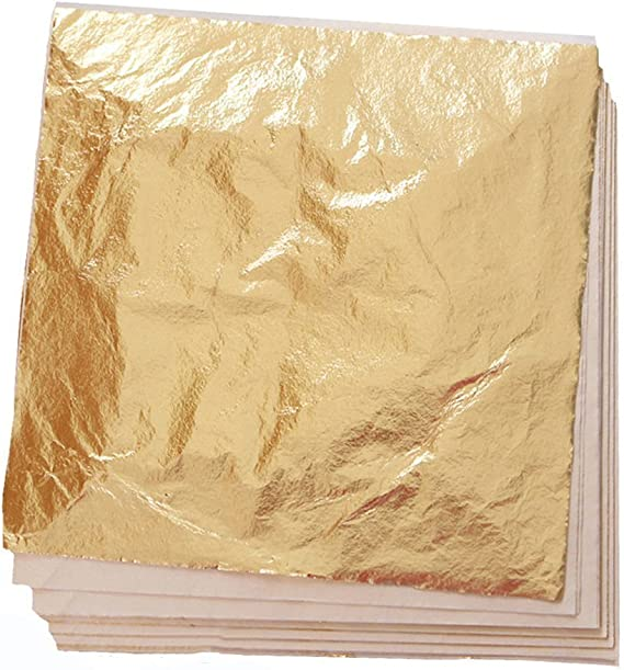 100 Sheets Imitation Gold Leaf For Art Crafts Decoration Gilding Crafting Frames 5 5 By 5 5 Inches Home Kitchen Amazon Com