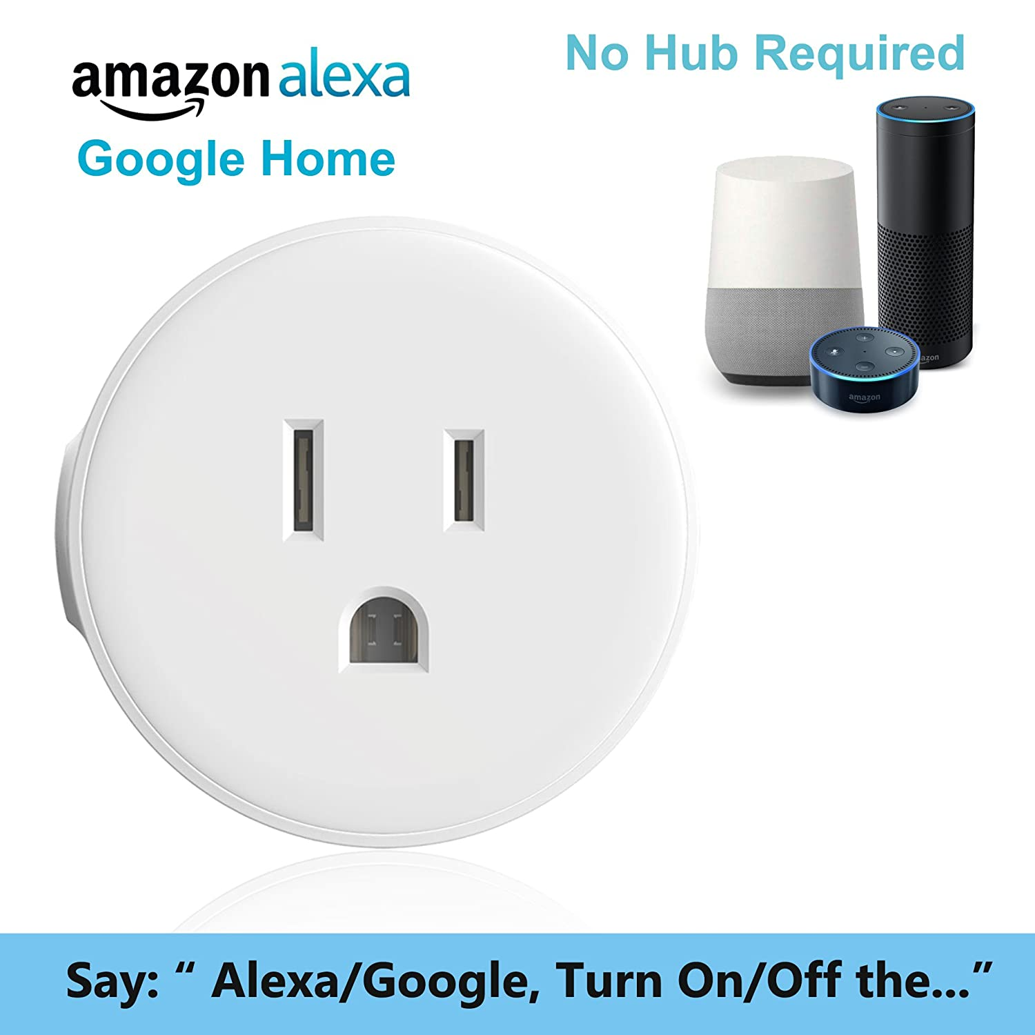 Wi-Fi Smart Plug Mini Socket Okelux Wireless Outlet Switch Compatible with Alexa Echo /& Google Home Control by Smartphone Okelux Lighting Inc S-S-001 No Hub Required 2-Pack