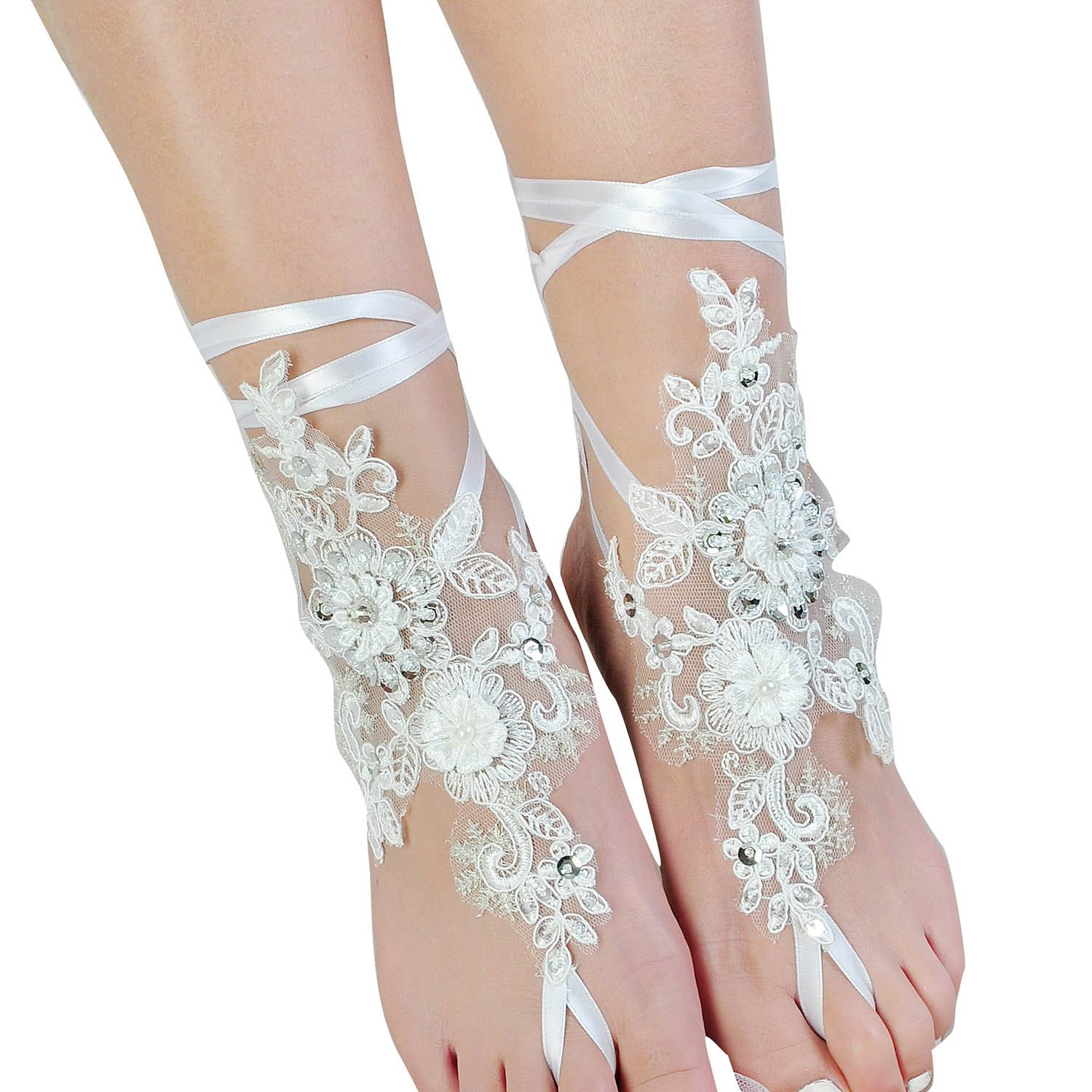Fine Lady Lace Barefoot Sandals,Beach Wedding Anklet,Sexy Jewelry,Wedding Shoes With Sparkle Sequins