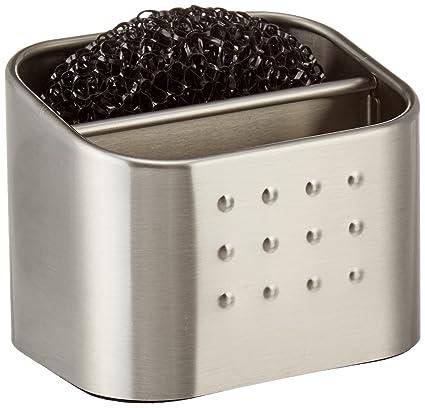 InterDesign Forma Organizador de cocina para fregadero, jabonera pequeña con porta estropajo en acero inoxidable, plateado