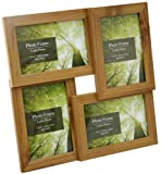 "Standing & Wall Mounted 4 Picture Photo Frame 4"" x 6"" Wooden Effect Multi Quad Layered"