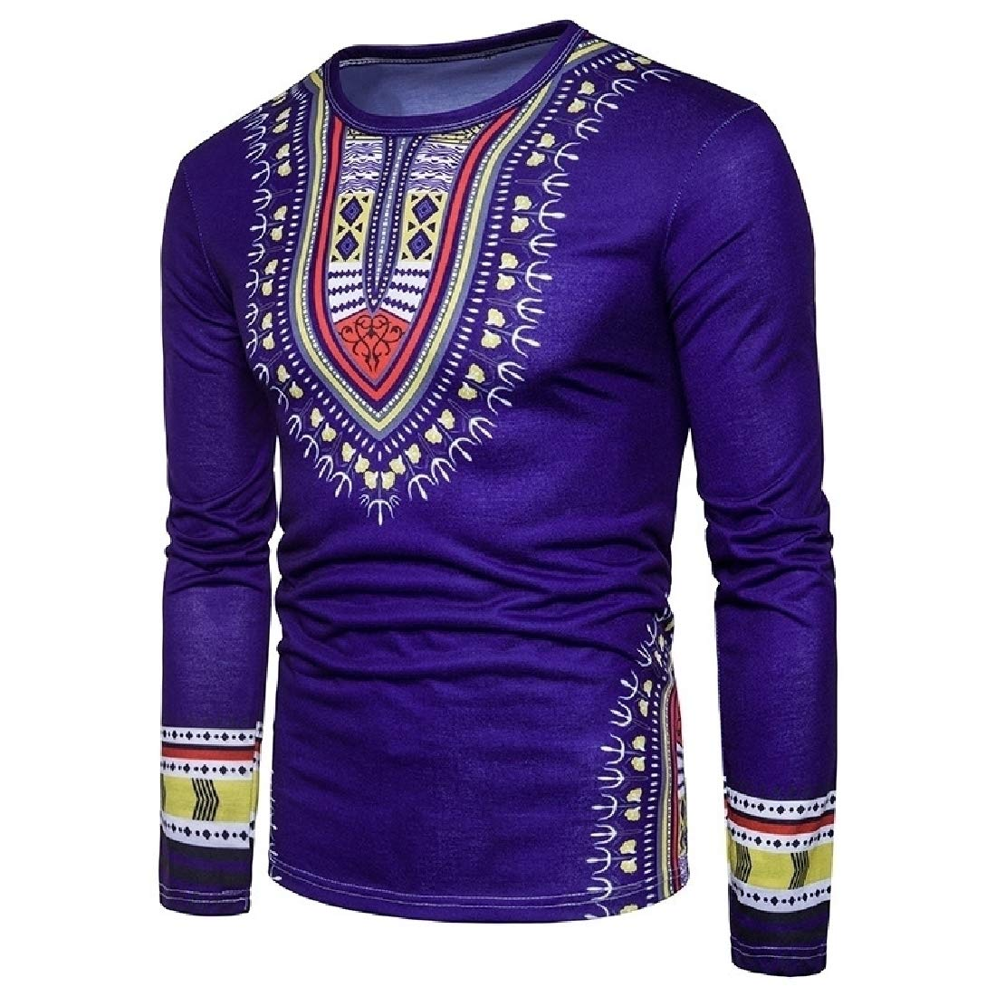 Doufine Men's Tops Spell Color Dashiki African Print Folk Style T-shirts Navy Blue M by Doufine--men clothes (Image #2)