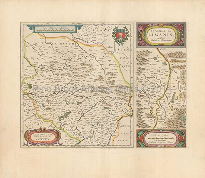 Limoges France Map.Amazon Com Cleremont Riom Limoges France Antique Map Blaeu 1660