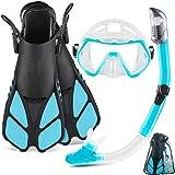 ZEEPORTE Mask Fin Snorkel Set with Adult Snorkeling Gear, Panoramic View Diving Mask, Trek Fin, Dry Top Snorkel +Travel Bags,