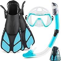ZEEPORTE Mask Fin Snorkel Set with Adult Snorkeling Gear, Panoramic View Diving Mask, Trek Fin, Dry Top Snorkel +Travel…