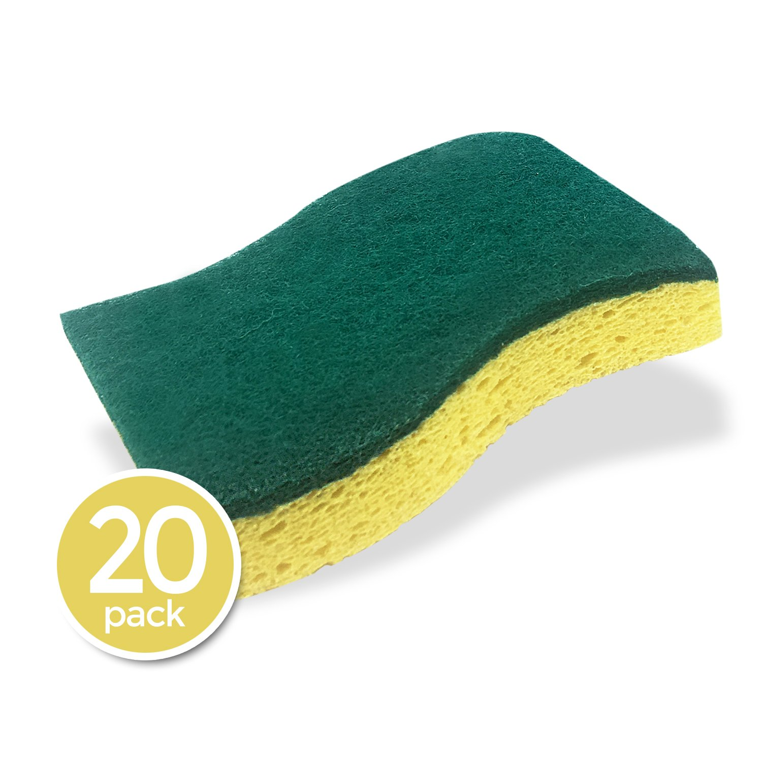 STK 20-Pack Multi-Use Heavy Duty Scrub Sponge - Odor Reduction Technology - Viscose Sponges - 100% Biodegradable & Eco Friendly - Kitchen-Bathroom - Car - Individually Wrapped by STK