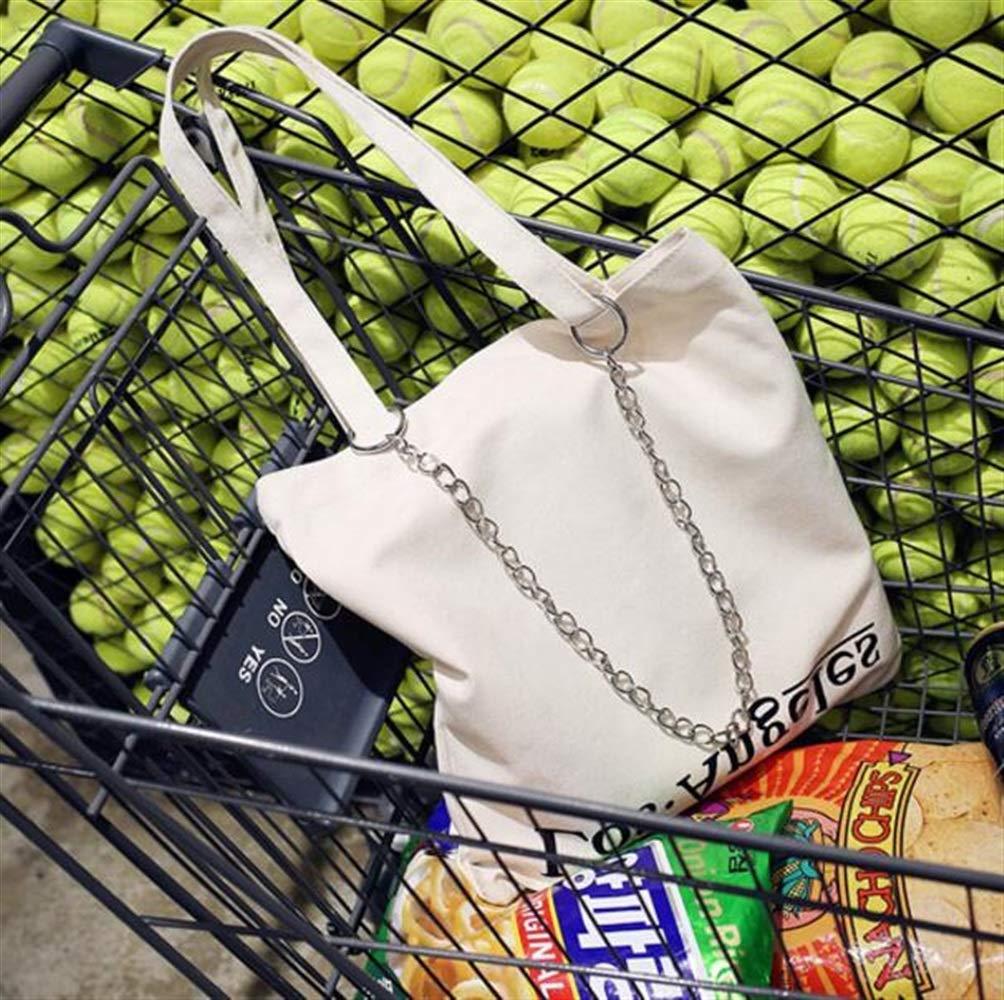 WHXYAA Women Shoulder Bag Tote Bag Printed Canvas Bag Ladies Large-Capacity Shopping Bag Beige Simple Atmosphere