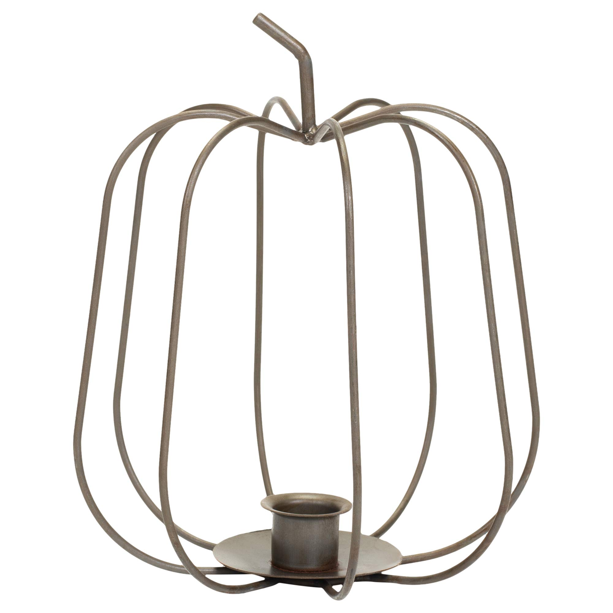 Pumpkin With Stem Wire Rustic Gray 8 x 6 Metal Harvest Taper Candle Holder