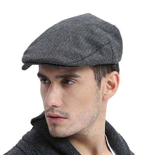 VOBOOM Wool Tweed Flat Cap Herringbone Newsboy caps Cabbie hat (57cm 7 1  82bb0208d72c