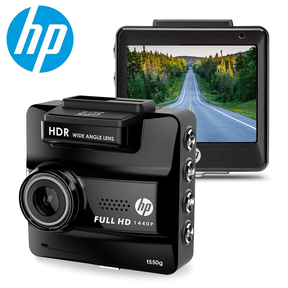 HP DASH CAM for Cars HD 1440P Built-in GPS DVR Vehicle Dashboard Digital Camera Recorder,G-Sensor, Night Vision, WDR, Parking Guard, Loop Recording,Invisible