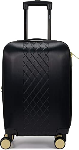 Badgley Mischka Diamond Hard Expandable Spinner Carry-on Suitcase Black