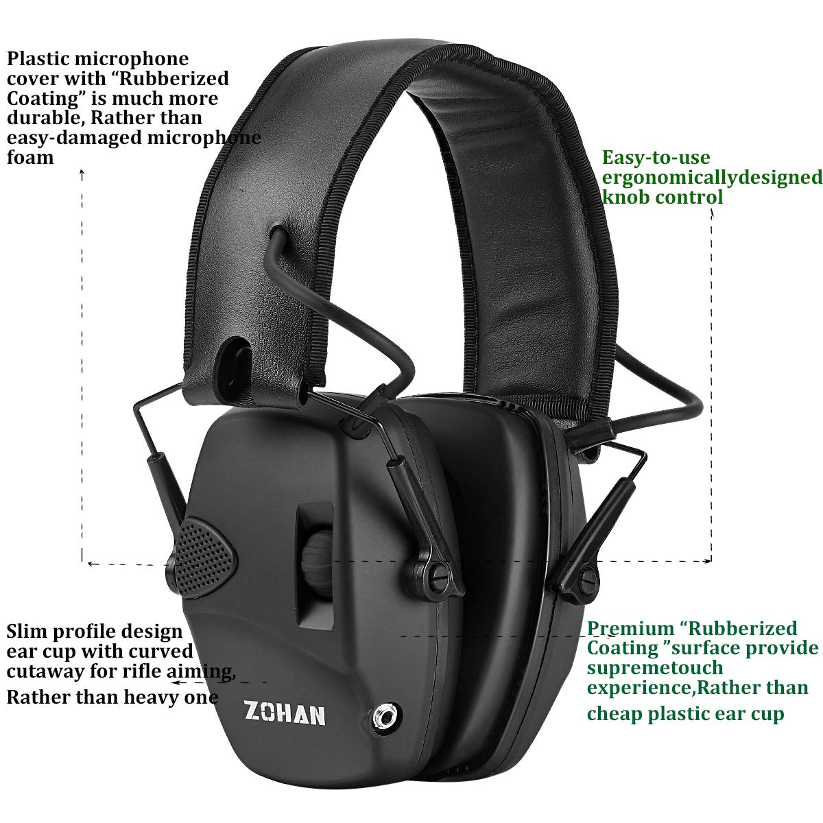 ZOHAN EM054 Electronic Shooting Earmuff Professional Sound Amplification Noise Reduction Muff Perfect for Shooting & Hunting Black with Case