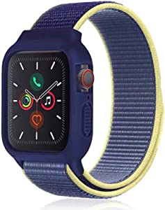 Nylon Sport Watch Band with Case Compatible with Apple Watch Band 44mm 42mm 40mm 38mm, for Apple Watch Bumper Case with Nylon Sport Loop Strap for Series 6/5/4/3/SE for Kids Women Men, Yellow Blue