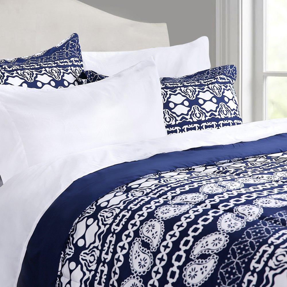HONEYMOON HOME FASHIONS Queen Comforter Set Down Alternative Lightweight for All Year Round