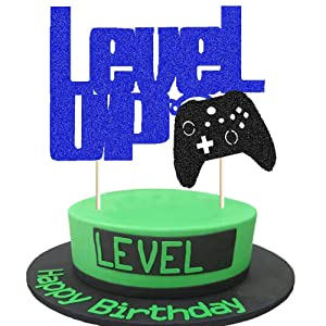 Level Up Cake Topper Blue and Black Glittery Video Game Party Cake Decor Video Game Controller/Game Fans/Gamer/Gaming Themed Kids Boy Girl Happy Birthday Party Cake Supplies Decorations