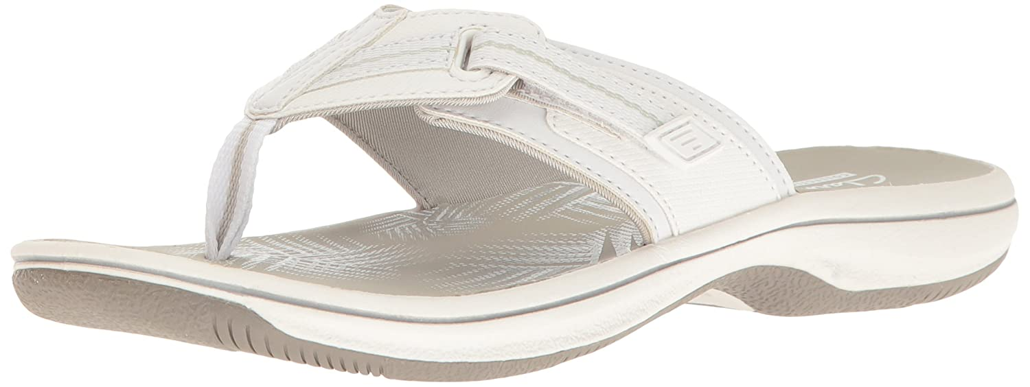 White Clarks Womens Brinkley Jazz Flip Flops