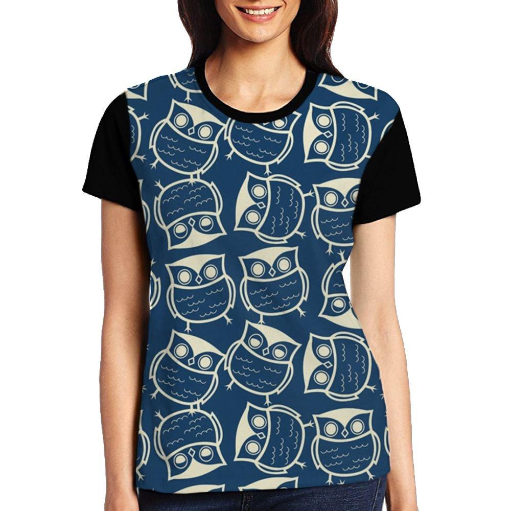 CKS DA WUQ Blue Owl World Women's Raglan T-Shirt Short Sleeve Sport Baseball Tees Tops Undershirts by CKS DA WUQ