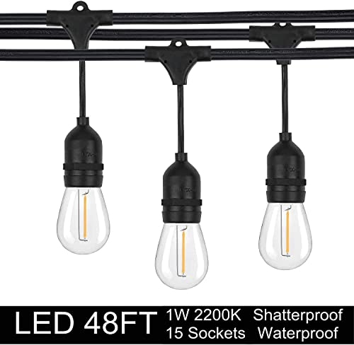 EMITTING Shatterproof Waterproof S14 Replacement LED Light Bulbs 1W Equivalent to 10W, White Warm 2200K Outdoor String Lights Vintage LED Bulbs, E26 Base Edison LED Light Bulbs String Lights