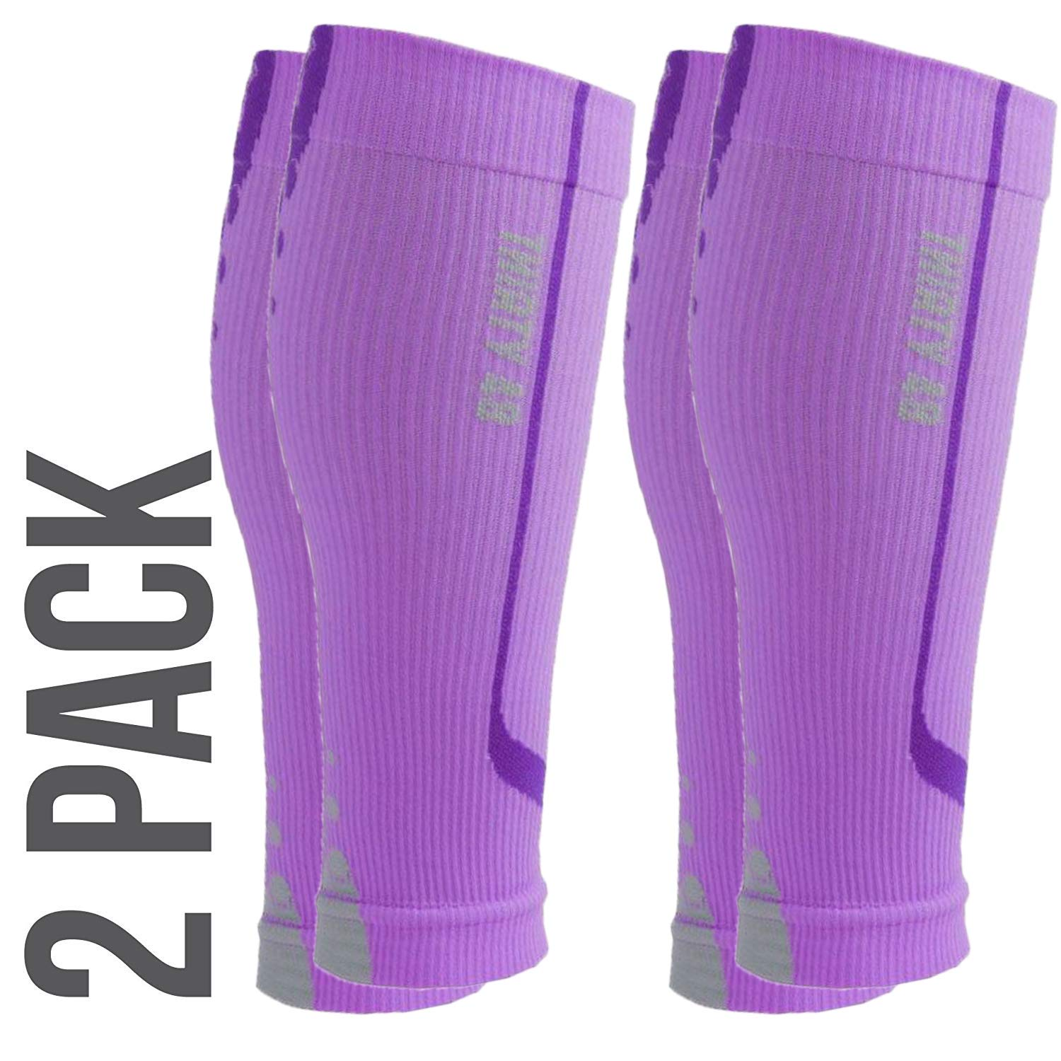 Graduated Calf Compression Sleeves by Thirty48 | 10-20 OR 20-30 mmHg | Maximize Faster Recovery by Increasing Oxygen to Muscles (Large // 17.3-19 Inch Upper Calf, [2 Pairs] Purple) by Thirty 48