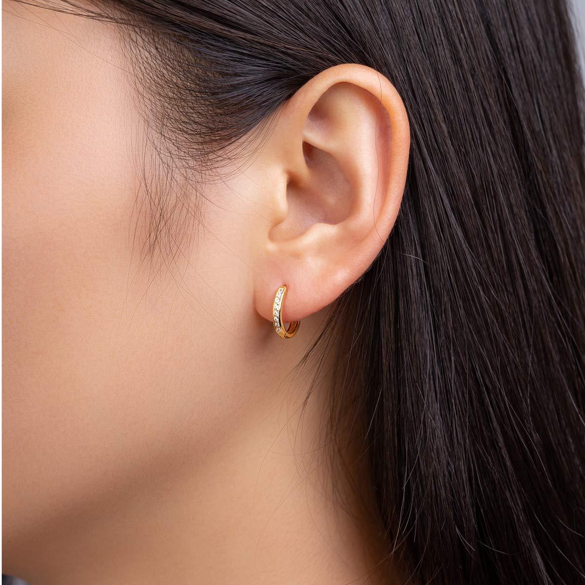 Silver Hoop Earrings for Women Girls 925 Sterling Silver Cartilage Earring Small Hoop Earring Hypoallergenic Piercing Huggie Cubic Zirconia Cuff Earrings