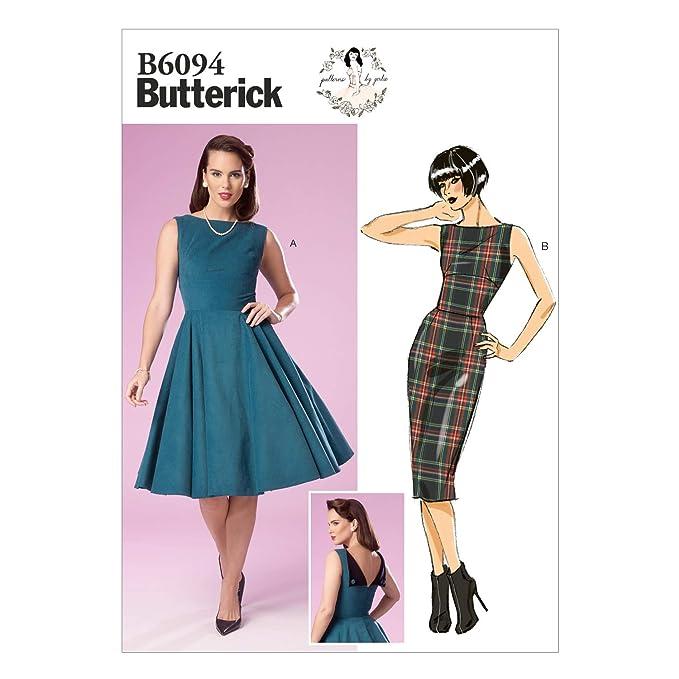 1950s Sewing Patterns | Dresses, Skirts, Tops, Mens BUTTERICK PATTERNS B6094 Misses Dress Size E5  AT vintagedancer.com