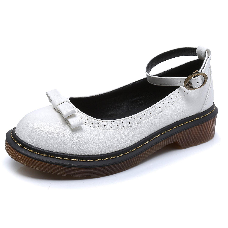 Smilun avec B000LEQMF2 Chaussures Femme Bride Cheville avec Nœud à 19995 Deux Boucles Bout Rond Blanc 825d1c1 - automatisms.space