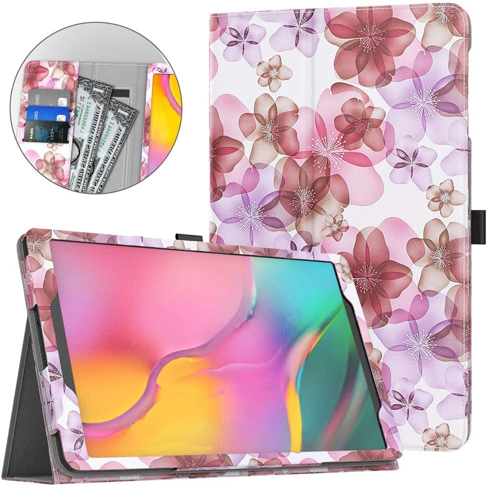 Dadanism Case Fit Samsung Galaxy Tab A 10.1 2019 Tablet (SM-T510/SM-T515), Ultra Slim Lightweight Folding Stand Soft PU Back Cover with Card Slots/Hand Strap Fit Galaxy Tab A 10.1 2019, Floral Purple