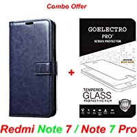 Goelectro Redmi Note 7 / Note 7 Pro (Combo Offer) Leather Dairy Flip Case Stand with Magnetic Closure & Card Holder Cover + Tempered Glass Full Screen Protection (Blue-Transparent)
