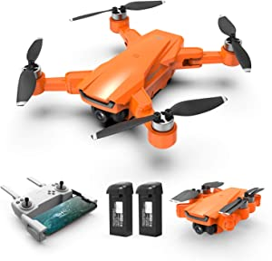 HR Drone with Brushless Motor For Adults,Foldable Drones with 4K FHD Camera Live Video And GPS Return Home,Quadcopter with Altitude Hold,Follow Me,Includes Carrying Bag(Orange)