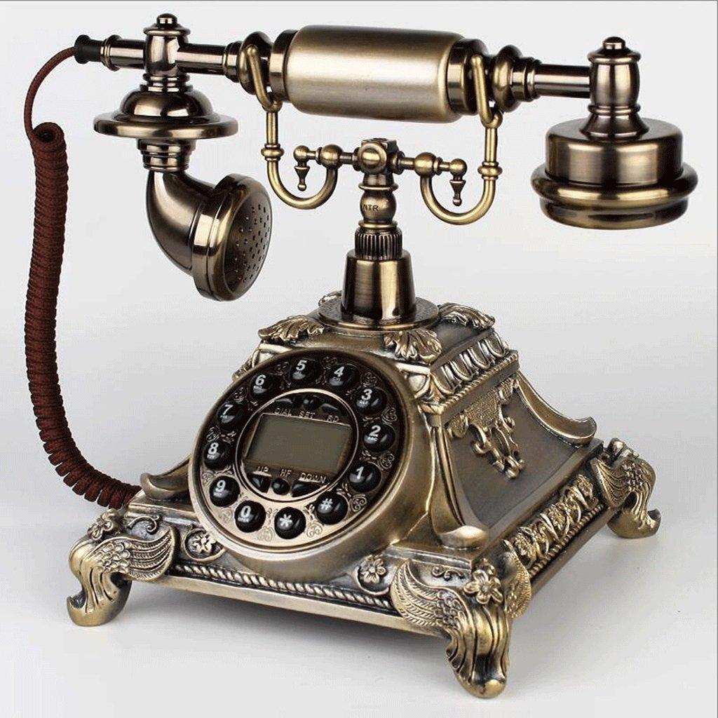 Ordinary-a  Hongyan Phone Métal rougeatif Bouton Cadran Antique Téléphone Vintage Européenne Salon Chambre Rétro Téléphone Fixe Sonneries Mécaniques HYX (Couleur   Backlumière-C)