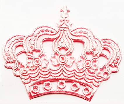 Pretty Pink Crown Royal King Queen Cartoon Children Kid Patch Appliques Fabric Decorating for Hat Cap Polo Backpack Clothing Jacket T-Shirt DIY Embroidered Iron On//Sew On Patch