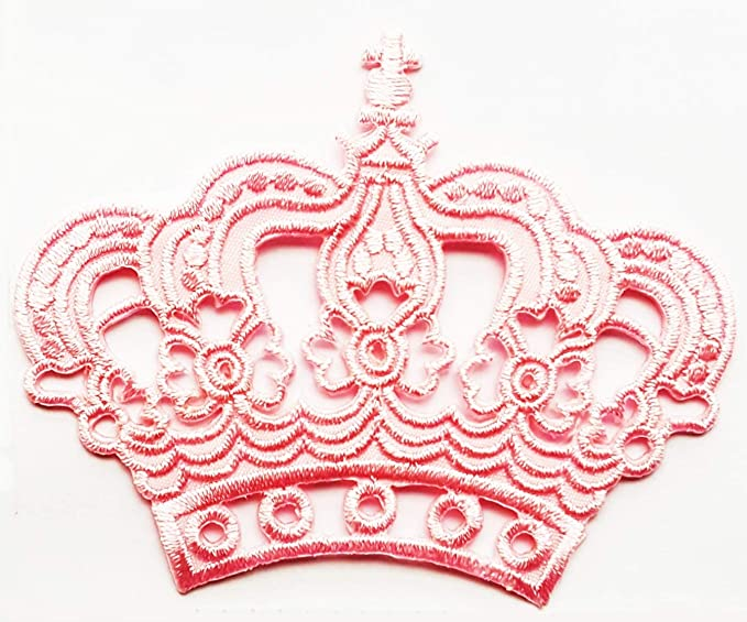 Umama Patch Set of 3 Pink Crown Royal King Queen Prince Cartoon Sticker Patch for Clothes Backpacks T-Shirt Jeans Skirt Vests Scarf Hat Bag Iron On Appliques Embroidered