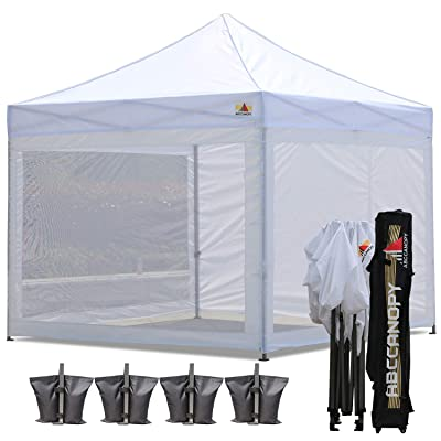 ABCCANOPY 10x10 Pop up Canopy Tent Commercial Tents with White Mesh Walls Camping Screen & Mesh House Bonus Rolly Carry Bag and 4X Weight Bag, 30+Colors : Garden & Outdoor