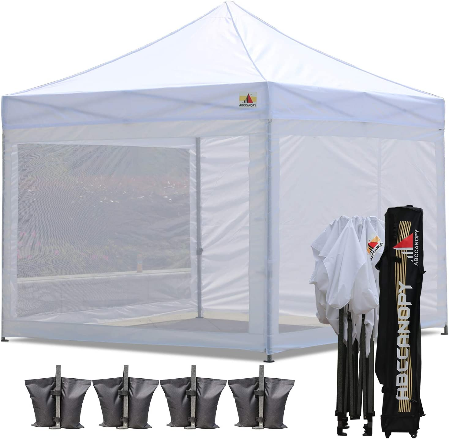 ABCCANOPY 10×10 Pop-up Canopy Tent Commercial Tents with White Mesh Walls Camping Screen Mesh House Bonus Rolly Carry Bag and 4X Weight Bag 1 White