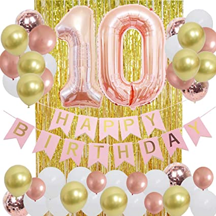 GIRLS 10th  BIRTHDAY PARTY BUNTING DECORATION BANNER 5 LARGE NUMBER SETS